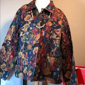 NWT woven cotton multicolor print jacket